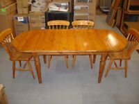 Solid Pine Dining Table and 4 Matching Chairs - Extends to seat 6