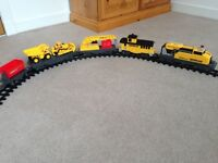Caterpillar construction train, battery powered, with track