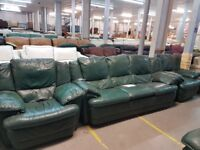 PRE OWNED 3 Seater Sofa + Armchair + Armchair in Green Leather