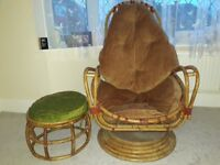 Bamboo chair with foot stool