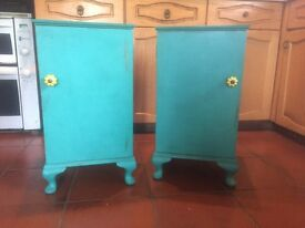 Hand painted vintage shabby green bedside cabinets/tables