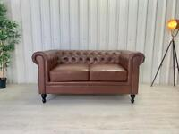 Brown leather Chesterfield 2 seat sofa FREE DELIVERY