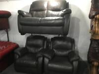 Brown leather 2 11 sofa set