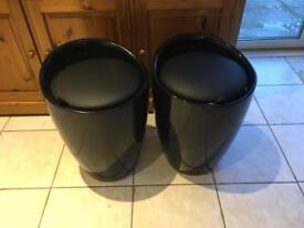 Black gloss storage stool seats x 2
