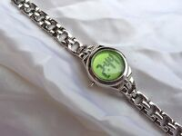 Ladies Silver Digital Dress Watch with Emerald Green Face
