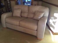 Superb quality 2x2 seater leather sofas ,foot stool & matching leather cushions. Mint Bargain !!