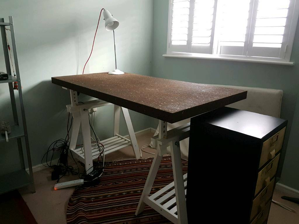 ikea trestle office or dining table cork in london gumtree. Black Bedroom Furniture Sets. Home Design Ideas
