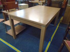 large pine look table seat 6 to 8 people