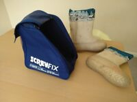 Russian style Boots with Galoshes and Screwfix Boot Bag