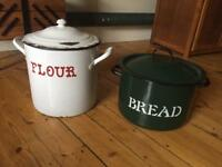 Vintage bread and flour tins