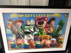 3 x Framed Pixar/dreamworks pictures for playroom or cinema room
