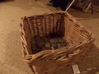 Vintage lucky money basket collection with 152 coins, Elizabeth II and George VI £30