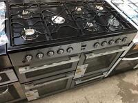 New Graded FLAVEL MLN10FRS Dual Fuel Range Cooker - Silver & Chrome RRP £749.99