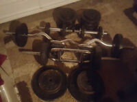 Dumbbell's, Ez curl bar, Tricep bar, kettlebells and Weights