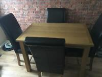Solid Oak Dining Table & 4 Chairs as new