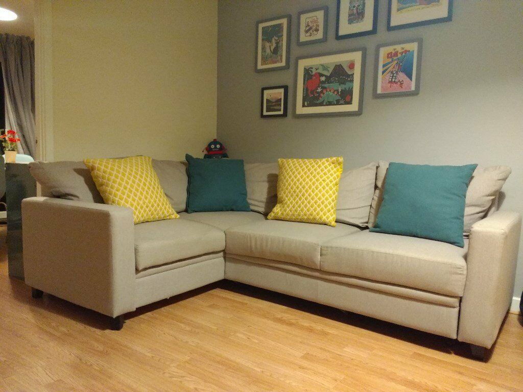 Hygena Seattle Left Hand Corner Sofa Bed Natural Good Condition