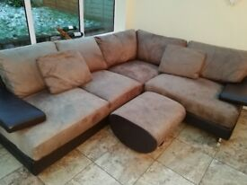 Large L shaped chocolate brown suede and leather settee