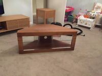 Wooden TV table / corner unit, with glass shelf - £75