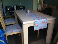 Dining table and 4 chairs. Chairs easily re-covered to match your decor