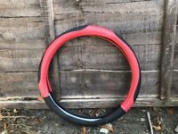 Black And Red Steering Wheel Cover Leather Look Universal 37-39cm