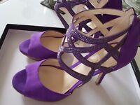 Purple Suede Diamante Heels Size UK3.5 EU 36.5