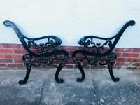 Vintage cast metal bench ends with lion heads 60£