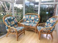 Cane Conservatory Sofa And Two Chairs With Cushions