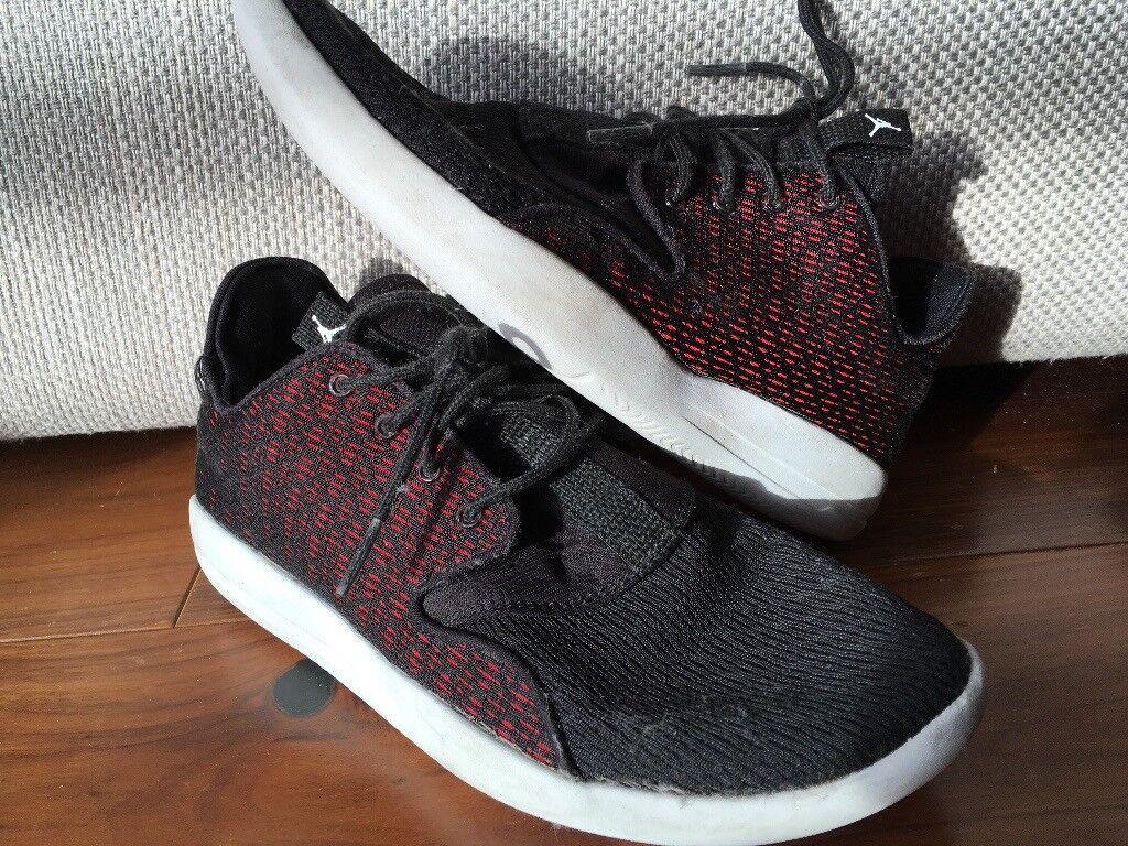 Kids NIKE Jordans black red shoes USED UK 5.5