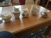 5 vintage style milk jugs