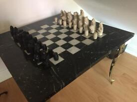 Italian Marble Chess Table & Pieces