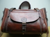100% GENUINE LEATHER BAG TRAVEL BAG HOLDALL FLIGHT WEEKEND BAG