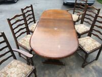 Dining room table (wooden and expandable) with 6 chairs