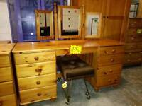 Pine dressing table with mirror and other pine chests