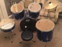6 Piece Full size Blue Drum Kit