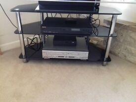 Black / Chrome Corner TV stand / Unit