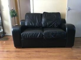 BLACK LEATHER SOFA X2- FREE DELIVERY