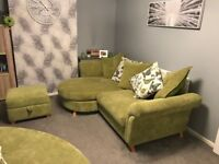 Large 2 seater sofa, giant cuddle chair with storage foot stall (cushions included)