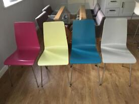 Ikea torsby table and four John Lewis coloured chairs
