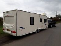 2008 Avondale Twin Axel 4 berth caravan with movers and steel frame awning