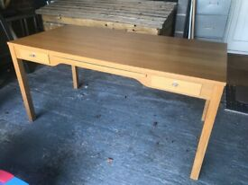 Oak desk with 2 drawers and Computer pull out section