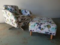 BRAND NEW / EX DISPLAY FABB SOFAS EVIE PATTERN ACCENT SWIVEL CHAIR WITH FOOTSTOOL DELIVERY AVAILABLE