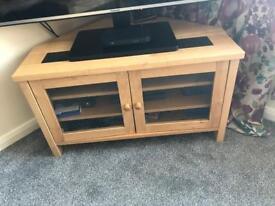 Solid Oak and Granite corner TV unit
