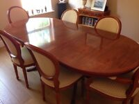 YEW EXTENDABLE TABLE, SIX CHAIRS AND CORNER DISPLAY CABINET