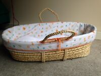 Moses basket, stand, mattress AND sheets!!