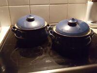Two Denby imperial Blue casserole pans