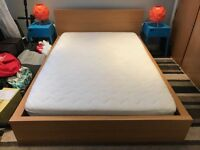 Ikea 'Malm' Standard Low Frame Double Bed including 'Sultan' Sprung Mattress.