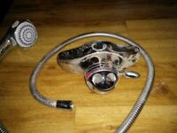 thermostatic shower valve, hose and head with riser