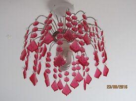 Pink glass chandelier