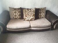 3 seat sofa with swivel chair and pouffe