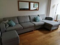 Grey 5 seater chaise corner sofa and storage footstool